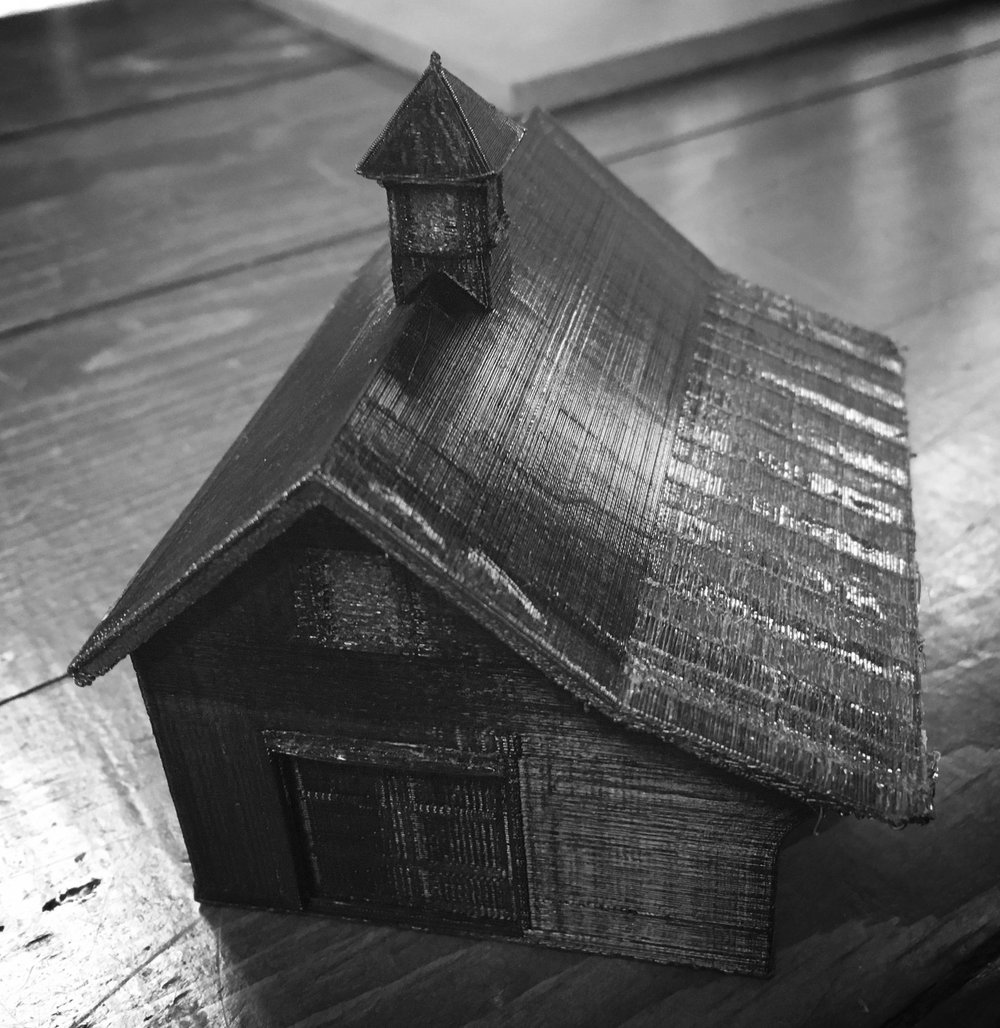 "Small Bank Barn test print. 1/8"" scale, standard resolution. See the Bank Barn in our catalog   here  ."