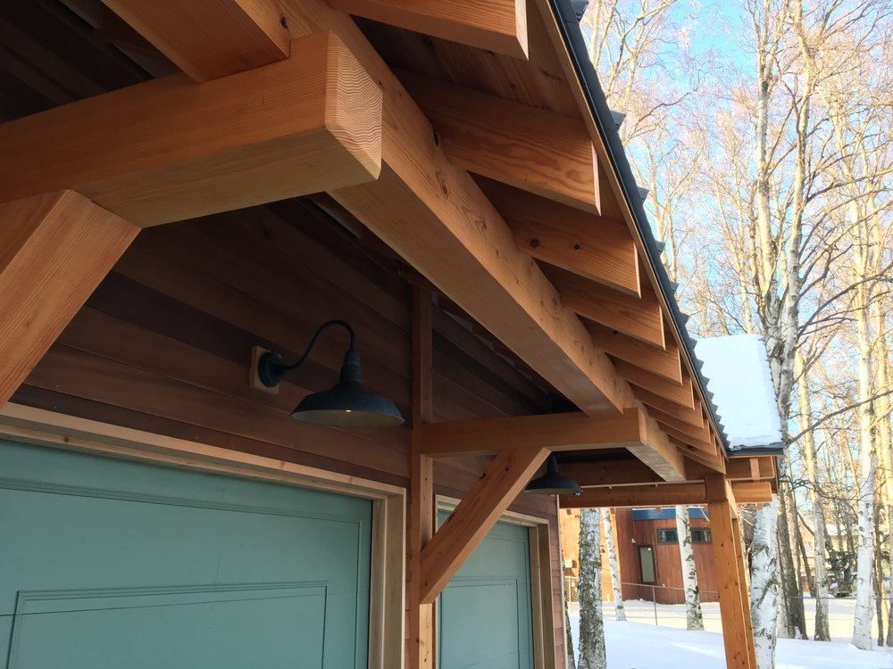 Snowguards, gutters and downspouts will take care of snow and ice.