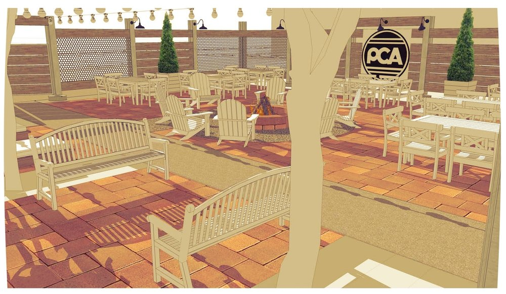 Early rendering of Patio Space