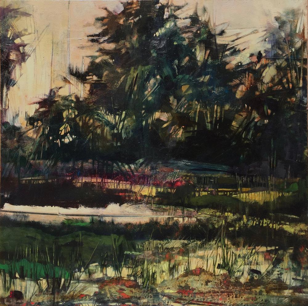 "Reconfigured: One, oil on panel 36 x 36"""