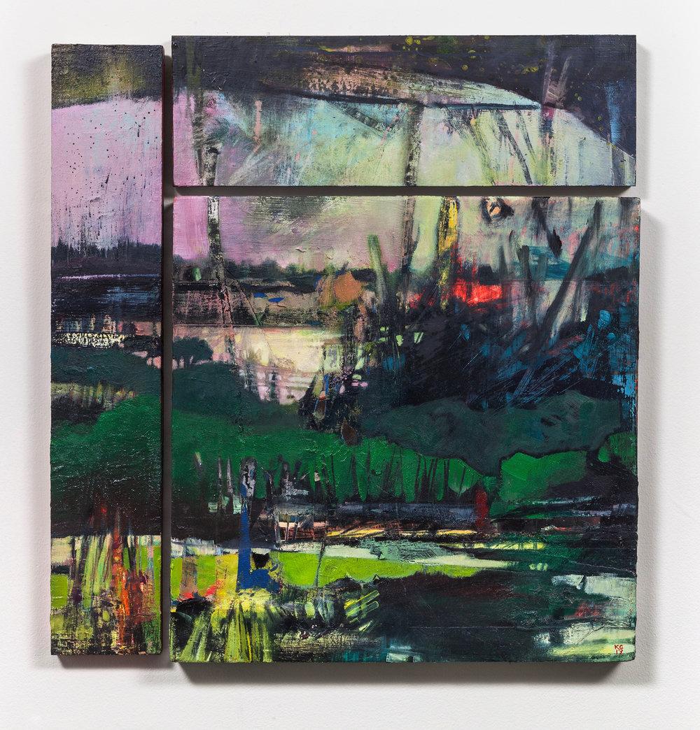 "Reconfigured: Five, oil on three panels 18.5 x 20"""