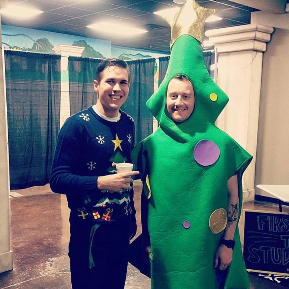 Paul and John (dressed as tree)