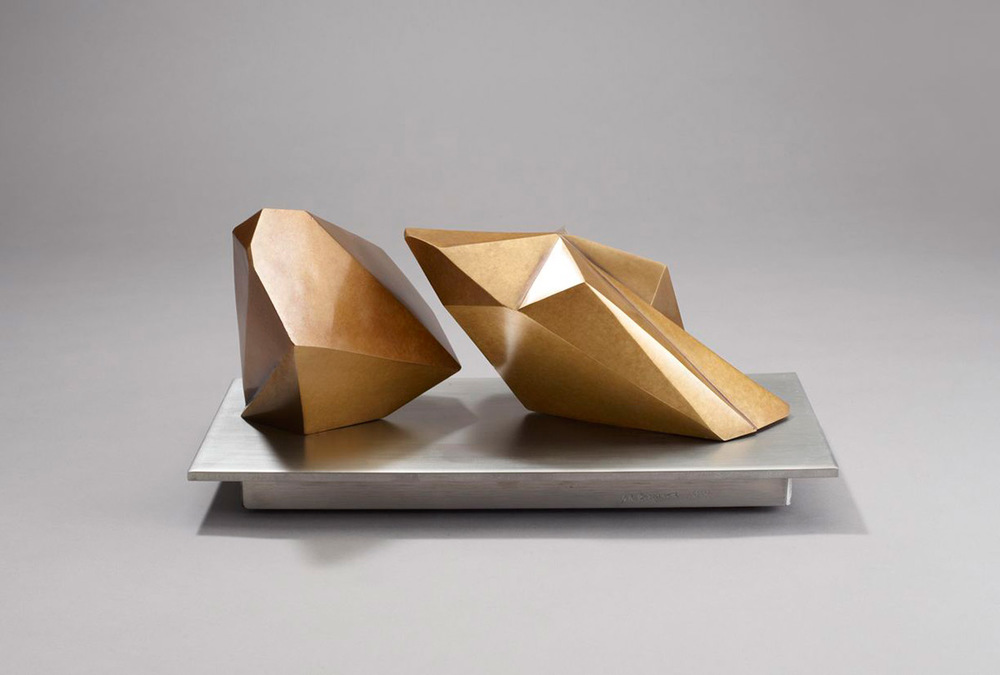 Two Objects on a Plane  – 2014 – 12 x 7 x 7 – Cast Bronze and Stainless Steel