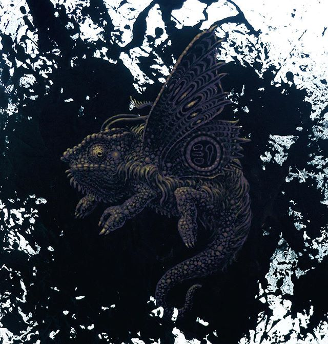 """""""Paris"""" acrylic on fabric 2015  #evanskrederstu #uglarworks #zooillogical #chameleon  #pantherchameleon #motheleon #projectchimera #madagascar #fineart #painting #art #animalhybrid #hybrid"""