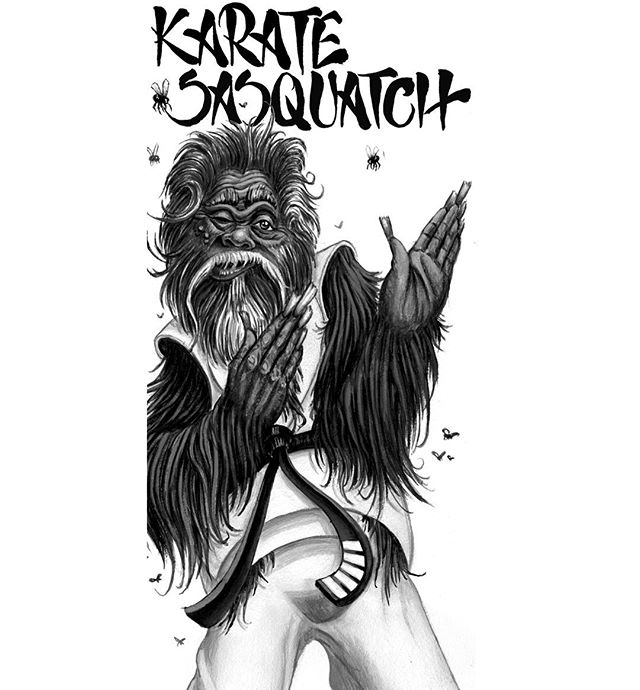 Have a KARATE.....SASQUATCH  Friday!  Brought to you in part by @unfadable_triz  #karatesasquatch  #karatesasquatchplayinghopscotch  #sasquatch #sasquatchthrowback  #squatch  #patsquatch  #characterdesign #illustration #bigfoot #70skarate  #karatemandontcry #skunkape #skunkapesighting