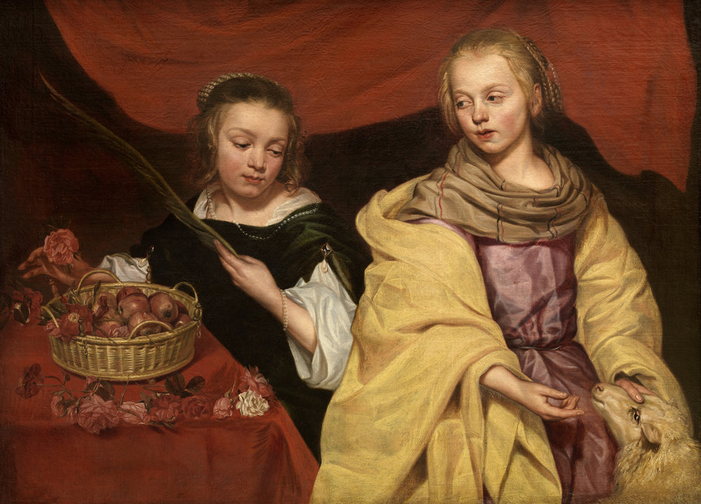 "Michaelina Wautier, ""Portrait of Two Girls as the Saints Agnes and Dorothy"" (ca. 1650)  Image courtesy of the  Collection of Antwerp, Royal Museum of Fine Arts, Antwerp).  Hyperallergic."