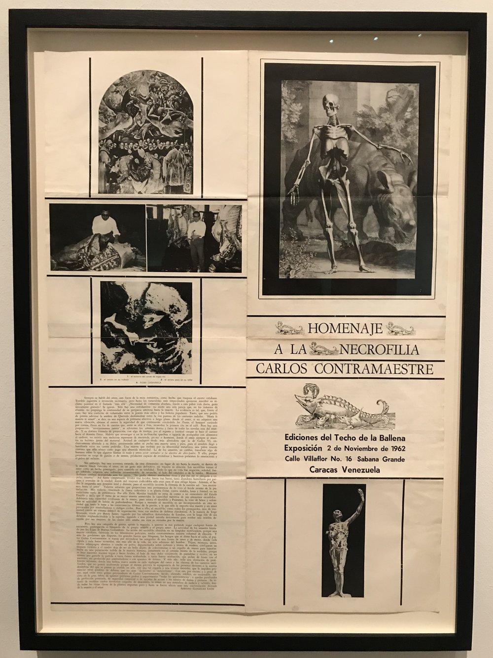 Show brochure for Carlos Contramaestre's  Homenaje a la Necrofilia  exhibition (1962)