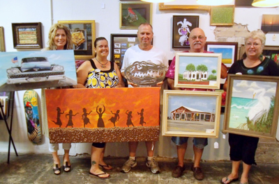 "(From Left- Right) Kim Wells, Beverly Farley, Robert Woods, Leo ""Punk"" Watson, LouAnn Creel Watson. Art Gallery Artist"