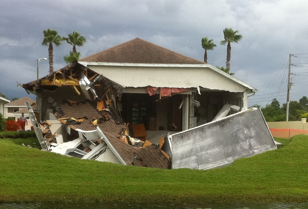 Sinkhole swallows home