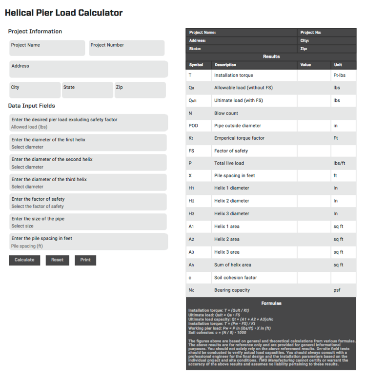 helical pier load calculator