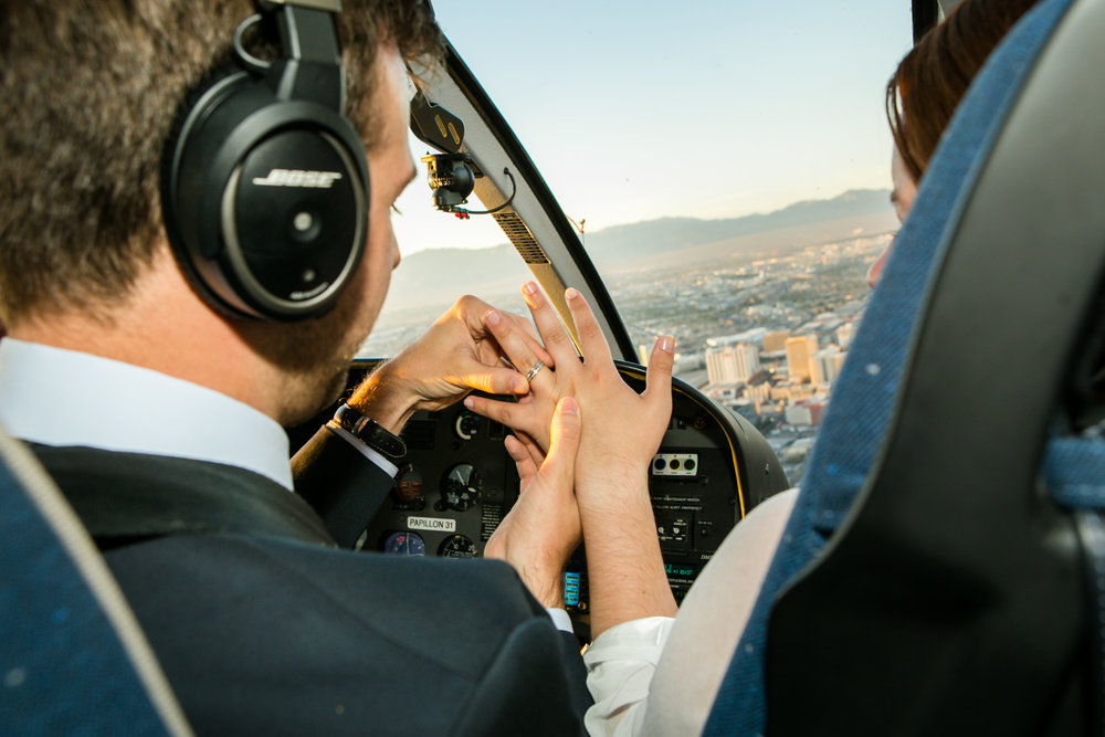 Helicopter vow renewal above the Las Vegas strip