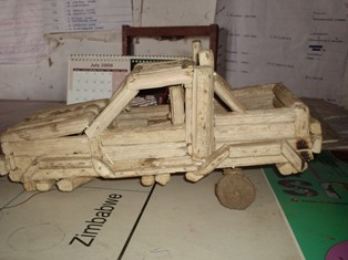 A car was made from maize piths & pots modelled from clay.