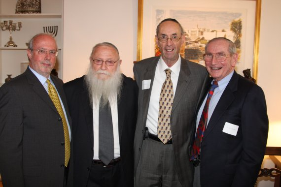 Menachem Bar-Shalom, Executive Director of AFYBA, Rabbi Drukman, Donald Press and Marvin Bienenfeld