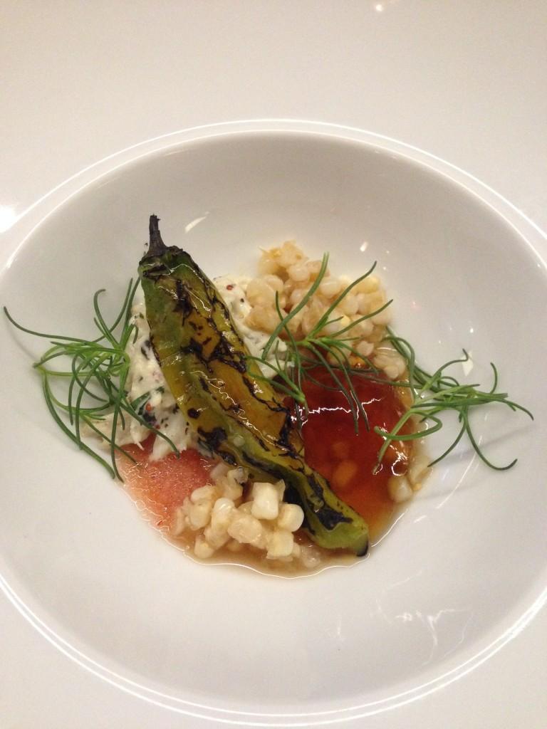 1st - Maryland crab salad, corn, shishito