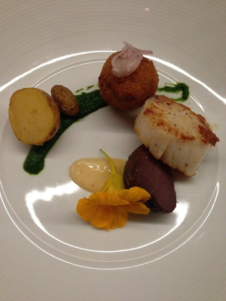 3rd - Scallops and fried chicken confit, schmaltz aioli, potato