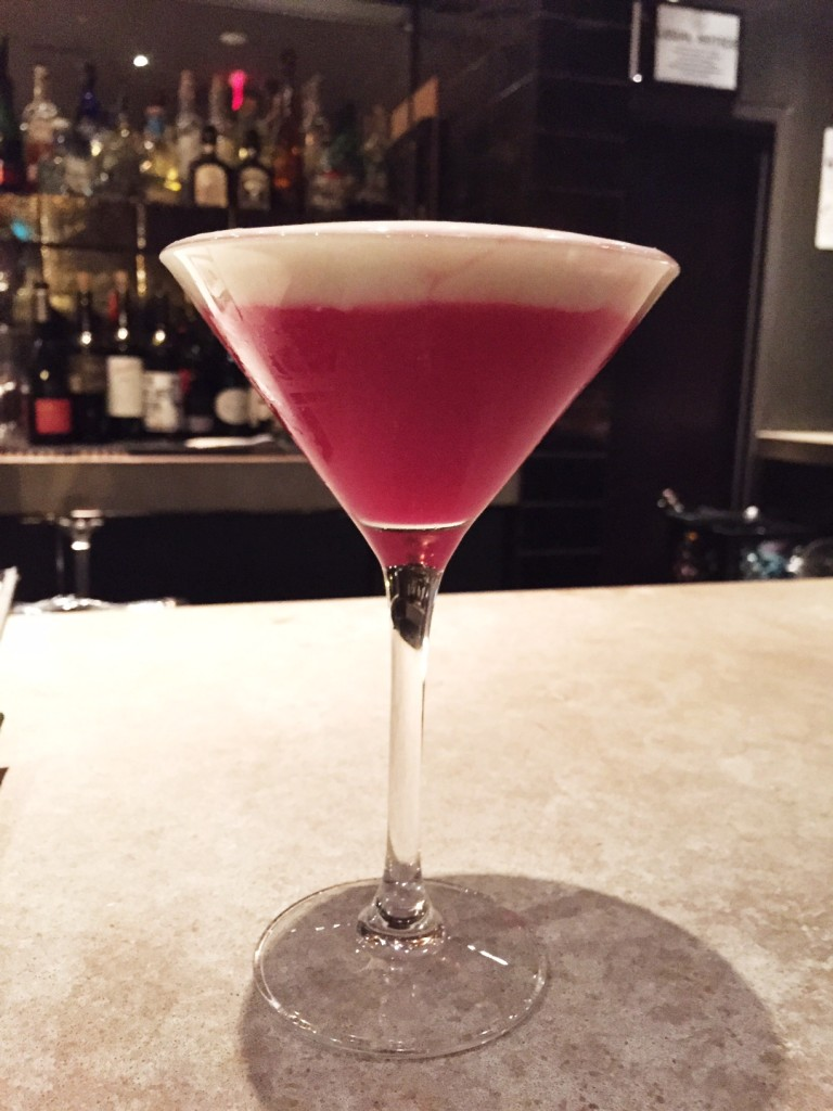 Has a strong kick and a kick on the tail end made with milagro tequila, beet juice, yuzu, ginger, wasabi air.