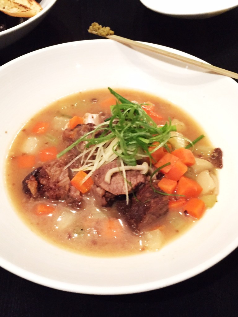 Slow braised short ribs, oxtail, seasonal root vegetables in a miso beef broth.