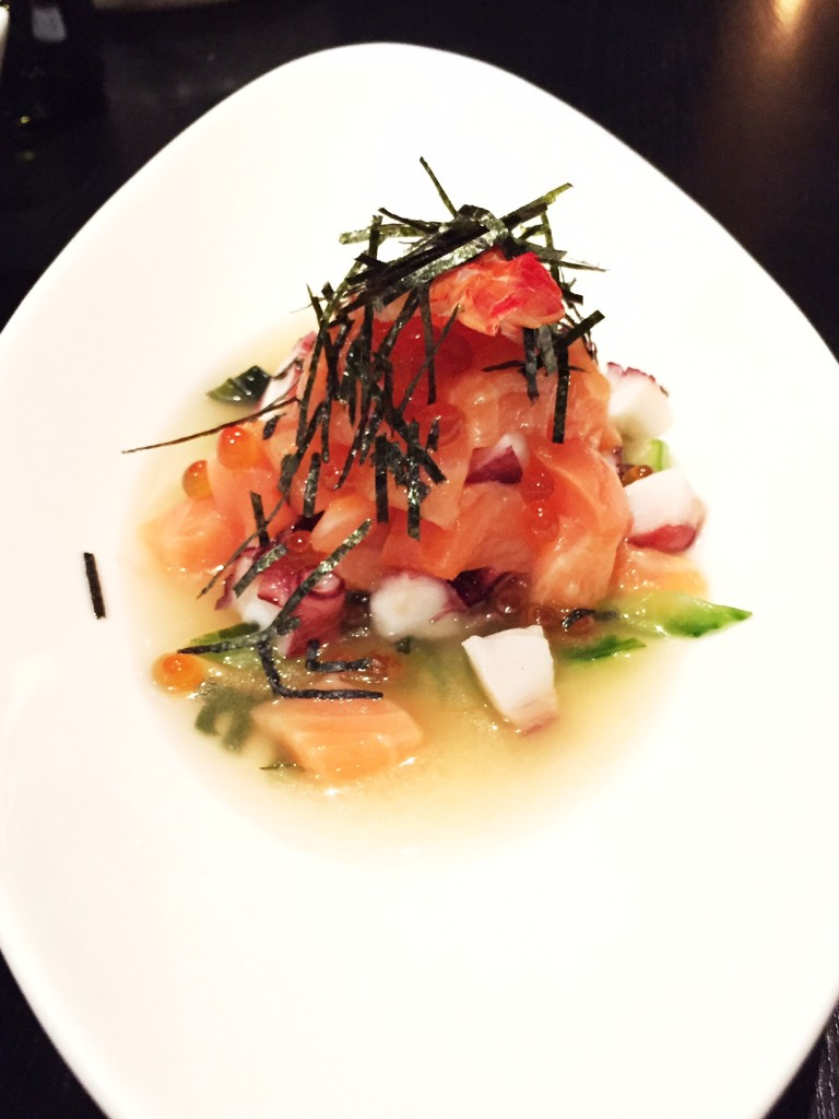 This fresh and light ceviche dish is a crowd pleaser with poached shrimp, tako, salmon sashimi, ikura, cucumber, wakame seaweed and white truffle tosazu.