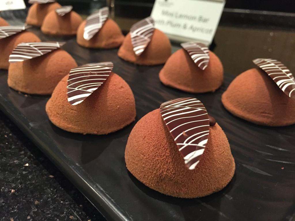 Mini chocolate spheres.