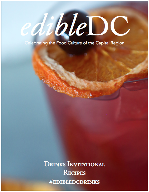 EdibleDC Drinks Invitational Digital Recipe Book Cover Cocktail with Dried Organe and Cherry Garnish.
