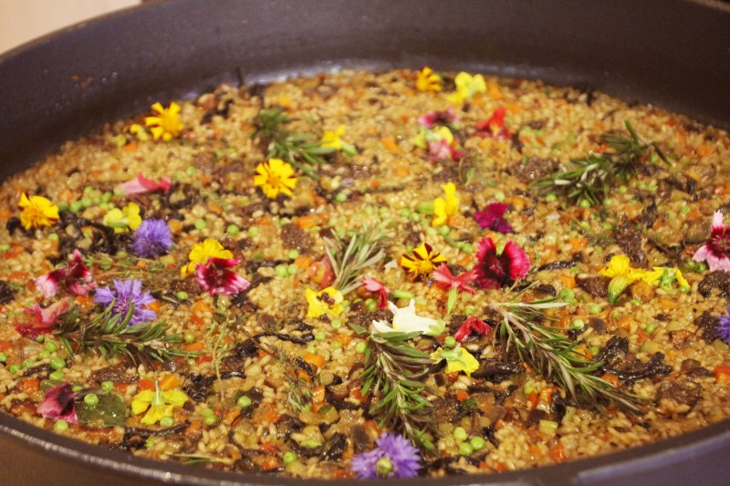 Paella de Verduras relies on local vegetables and herbs such as chantarelle mushrooms and lavender for a savory and rich flavor.