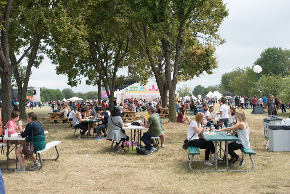 The picnic area and tables at the Landmark Music Festival.