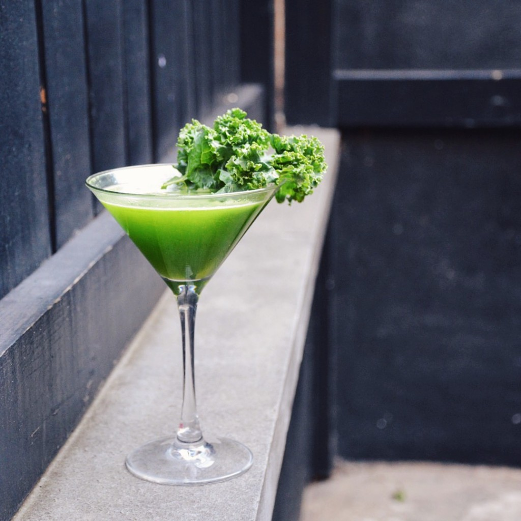 The Resolve with kappa pisco, kale syrup, lemon, and lavender bitters.