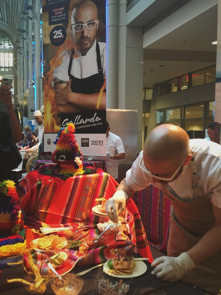 Ecuador, Chef Carlos Gallardo prepares the shrimp ceviche.