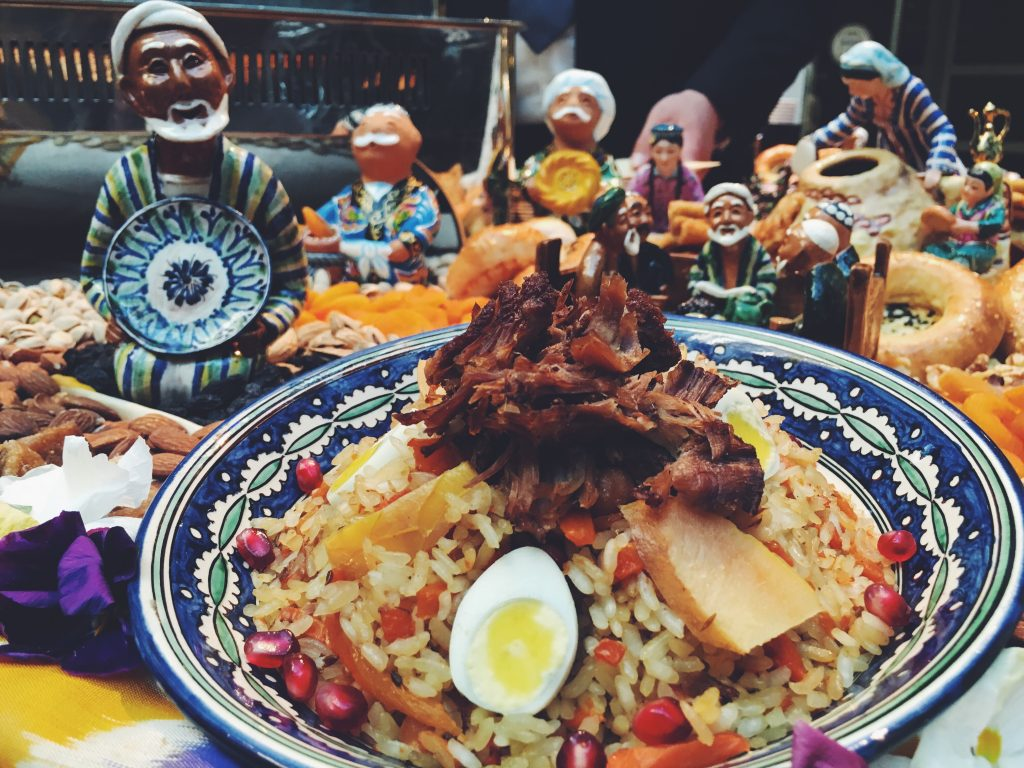 Uzbekistan, plov (rice with meat and carrots).