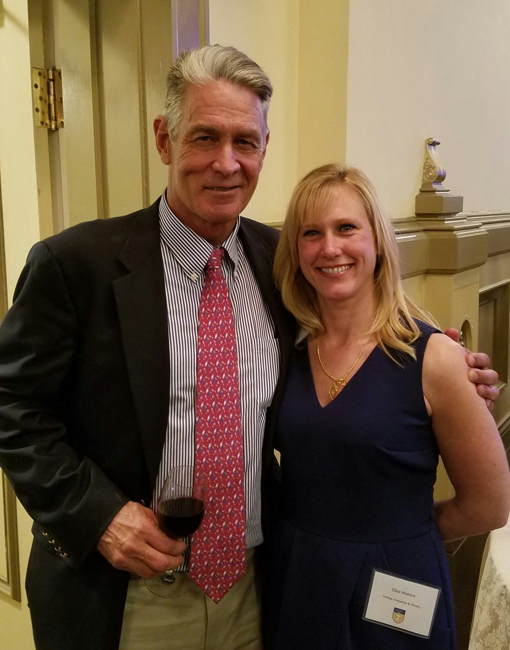 David King of King Vineyards and Emily Pelton of Veritas Vineyards, award winners at last night 2017 Governor's Cup Gala in Richmond.