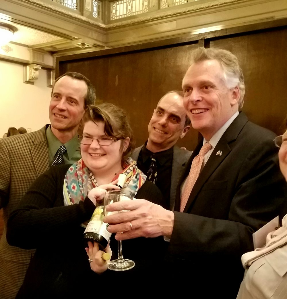 Virginia governor terry mc auliffe celebrated with the award winning winemakers at last nght's gala, here lifTing a glass with the team from  horton vineyards  who produced a gold medal winning vigonier.