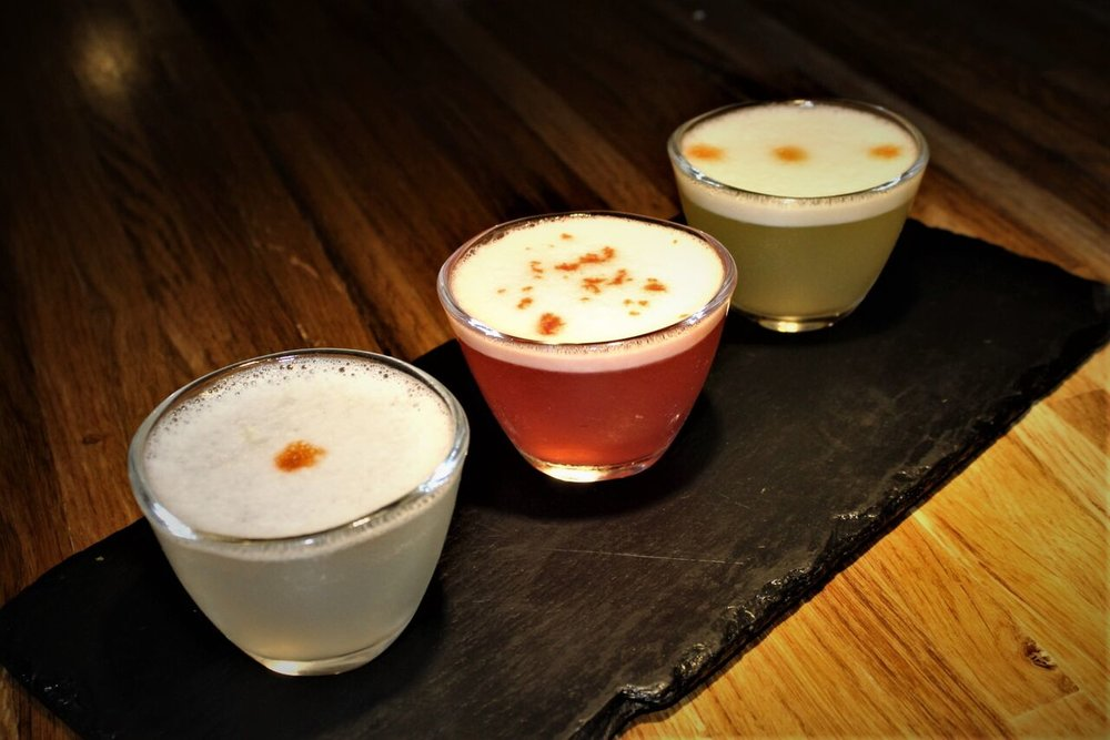 "Nazca Mochica ""Eggs Three Ways"" pisco sour flight. Photo is their own property."