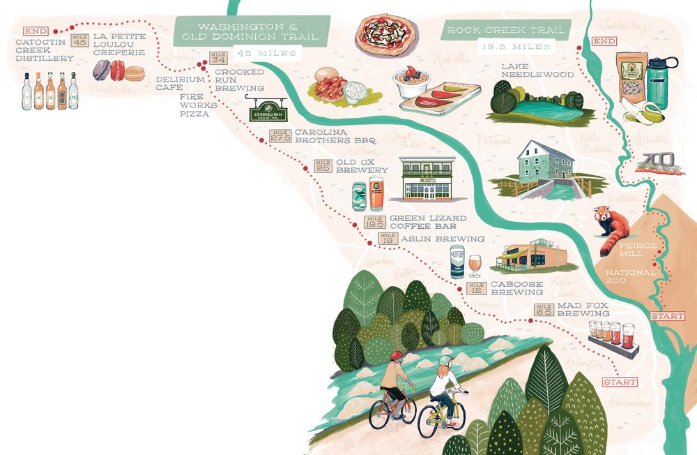 A map of the suggested stops along two of DC's most popular BikE trails. Torie partridge, illustrator.