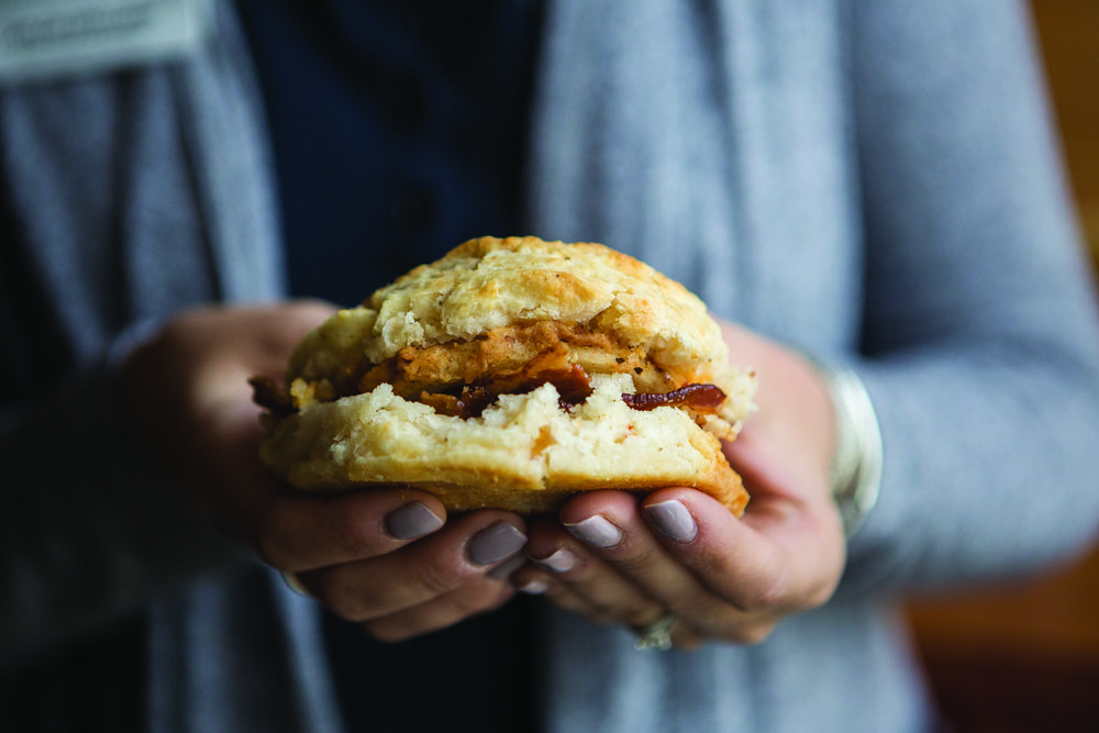 Bless Your Heart biscuit from the Scratch Biscuit Company, made with fried green tomato, bacon and chipotle