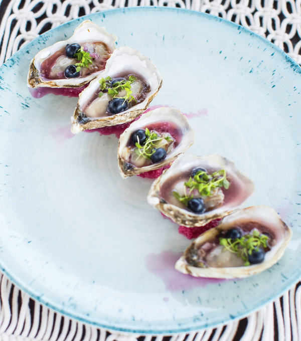 Pickled blueberry mignonette with oysters