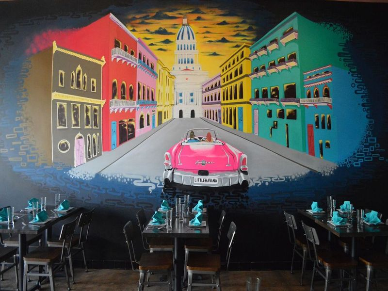 Little Havana beckons diners in with colorful murals.