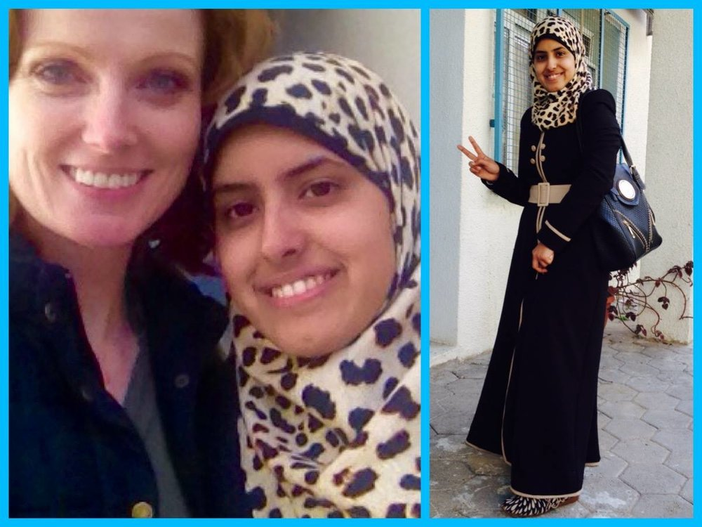 Here's Hind, one of our incredible scholars, posing with UNRWA USA board member Elizabeth Kucinich on our visit to Gaza in 2015