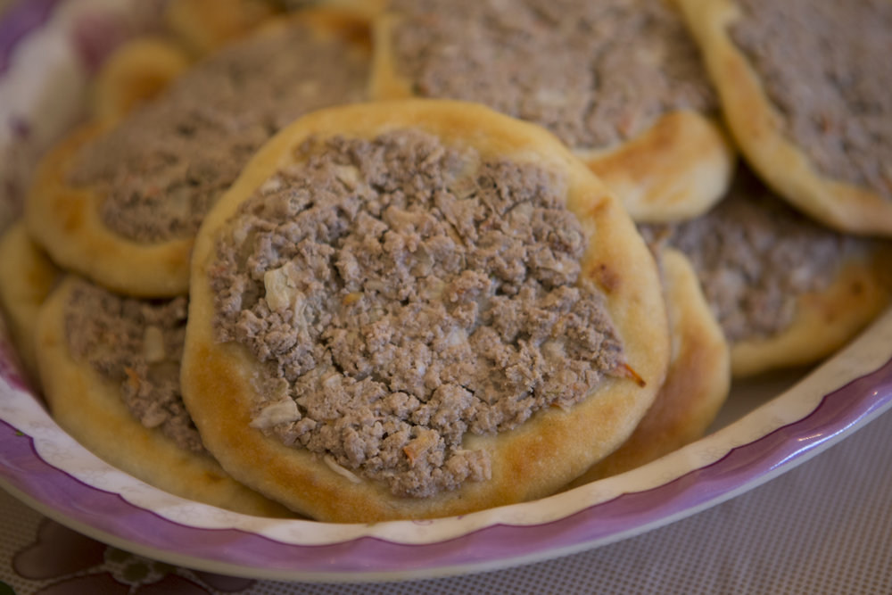 Palestinian meat pies made fresh by the amazing women we met in Aqbat Jaber