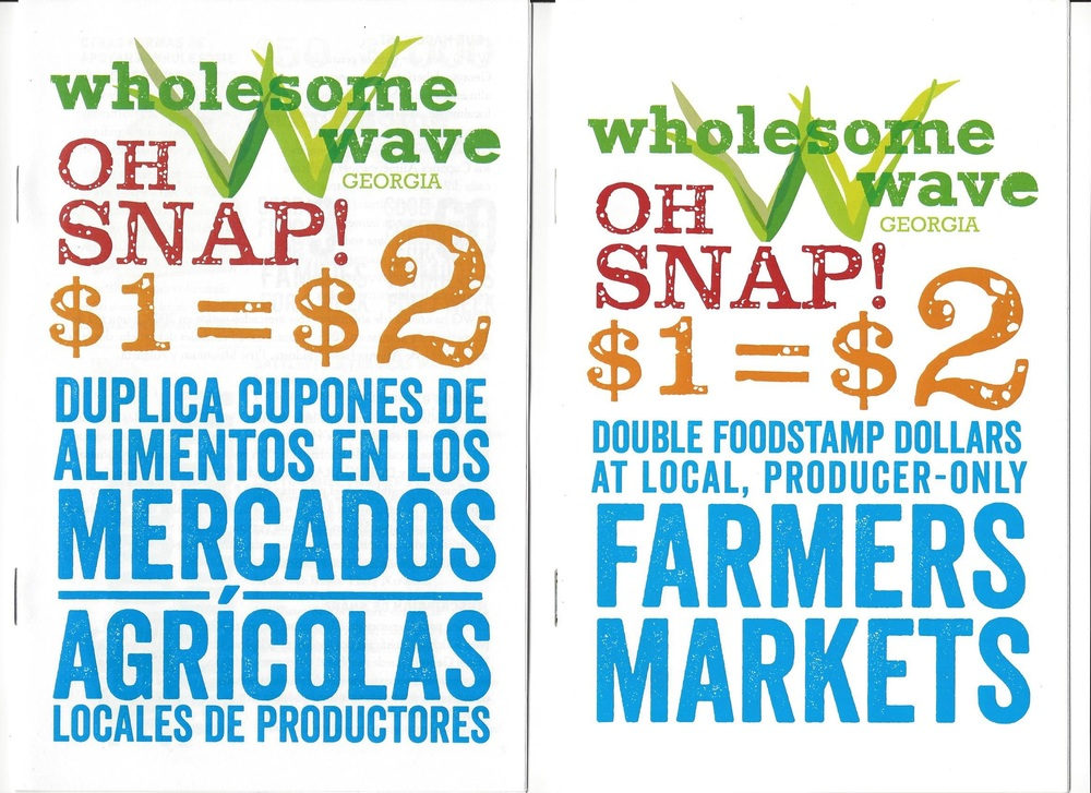 "EBT/SNAP shoppers can double their dollars when purchasing fresh food, only at participating farmers markets.     In 2013, only about one in every four farmers markets nationally reported accepting SNAP (formerly known as food stamps). Not only is Norcross Community Market starting off accepting SNAP, but this new farmers market earned a first year grant from Wholesome Wave Georgia to provide most of the doubled dollars. The balance of the funds to underwrite this important health and nutrition program have to come from the community. In year two, most of the funds used for doubling must come from the community if the program is to be sustainable.    The purpose of Wholesome Wave is to provide access to wholesome, locally-grown food at producer-only farmers markets. In addition to increasing access to good food for improved health, the program supports farmers using sustainable growing practices and contributes to the local food economy. In fact, locally owned retailers (including farmers at markets like ours) return more than 3 times their sales to the local economy compared to chain competitors.    The average monthly benefit in FY 2014 for Georgians according to published reports was $121.30. That is only about $4.00 per day per person for food. Doubling those dollars is a huge financial benefit to those in need. And there is the benefit to health also. ""…children in families receiving SNAP were significantly more likely to be classified as 'well' than young children whose families were eligible but did not receive SNAP.""     Help improve access to healthy locally grown food in the federally designated food desert census tracts in our Norcross area.  Donate now  to help cover administrative expenses and the local share of the doubling program."