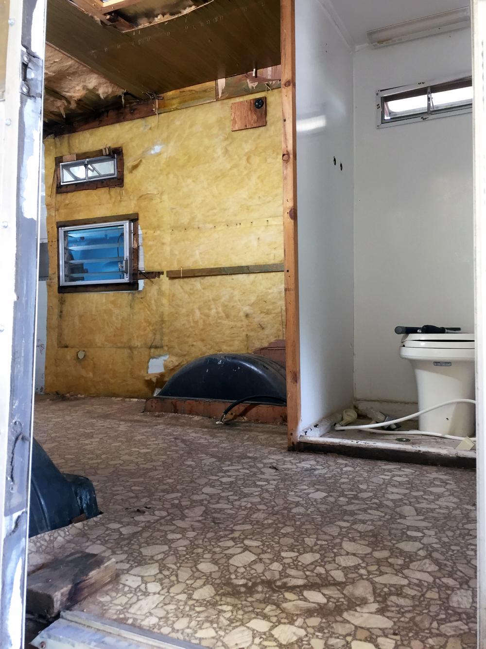End of demo day 2 —storage closets/bathroom area