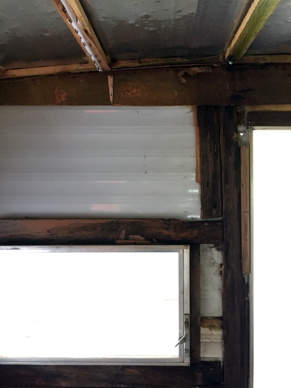 Post-demo — detail of the dinette area window by the exterior door