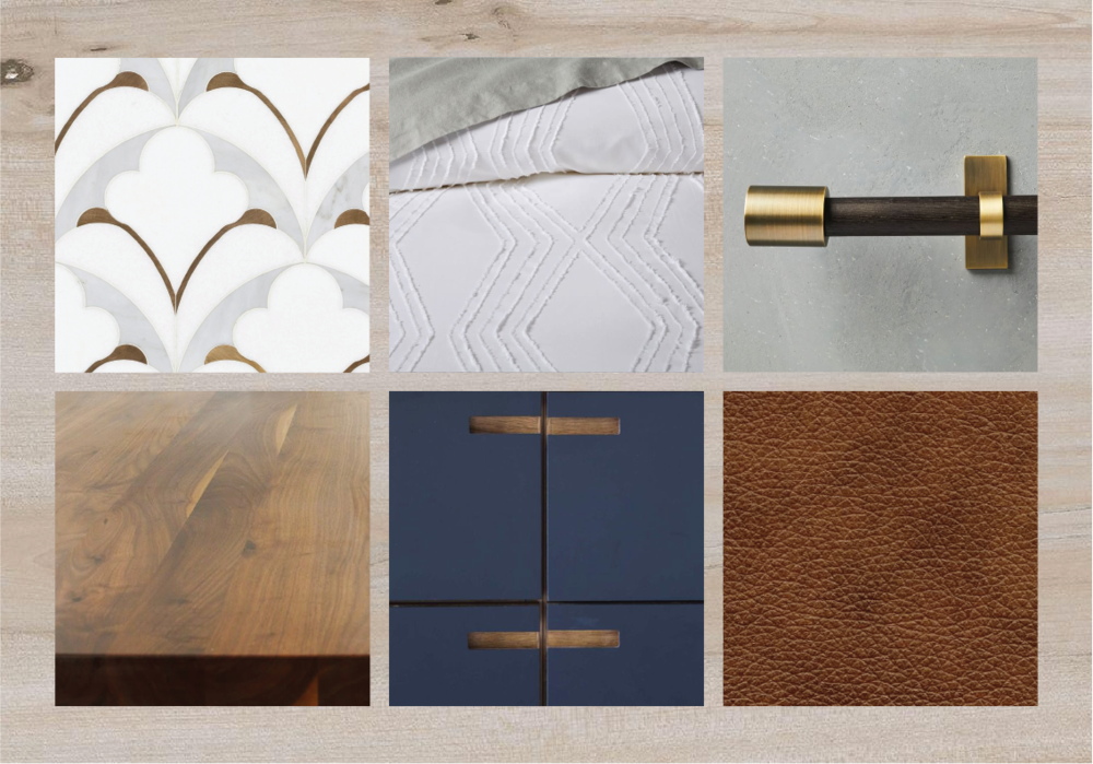 Look 1 — White oak plank flooring + cognac leather upholstery + navy flat front cabinetry + butcher block counters + neutral pattern backsplash + white bedding + brass accents.