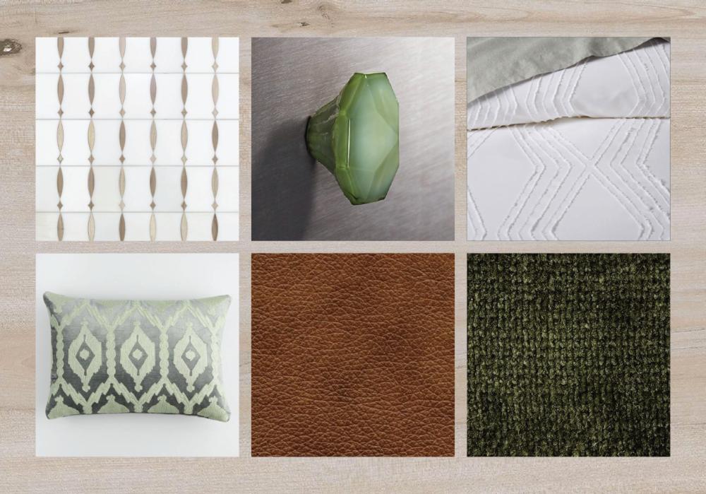 Look 4 — White oak plank flooring + cognac leather upholstery + gray cabinetry + patterned tile backsplash + white bedding + forest green accents + velvet.