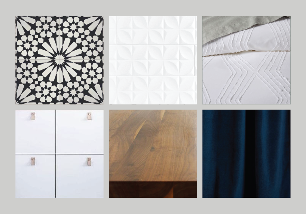 Look 5 — Bold graphic black & white flooring + white cabinetry + leather pulls + butcher block counters + white textured tile backsplash + white bedding + navy velvet accents.