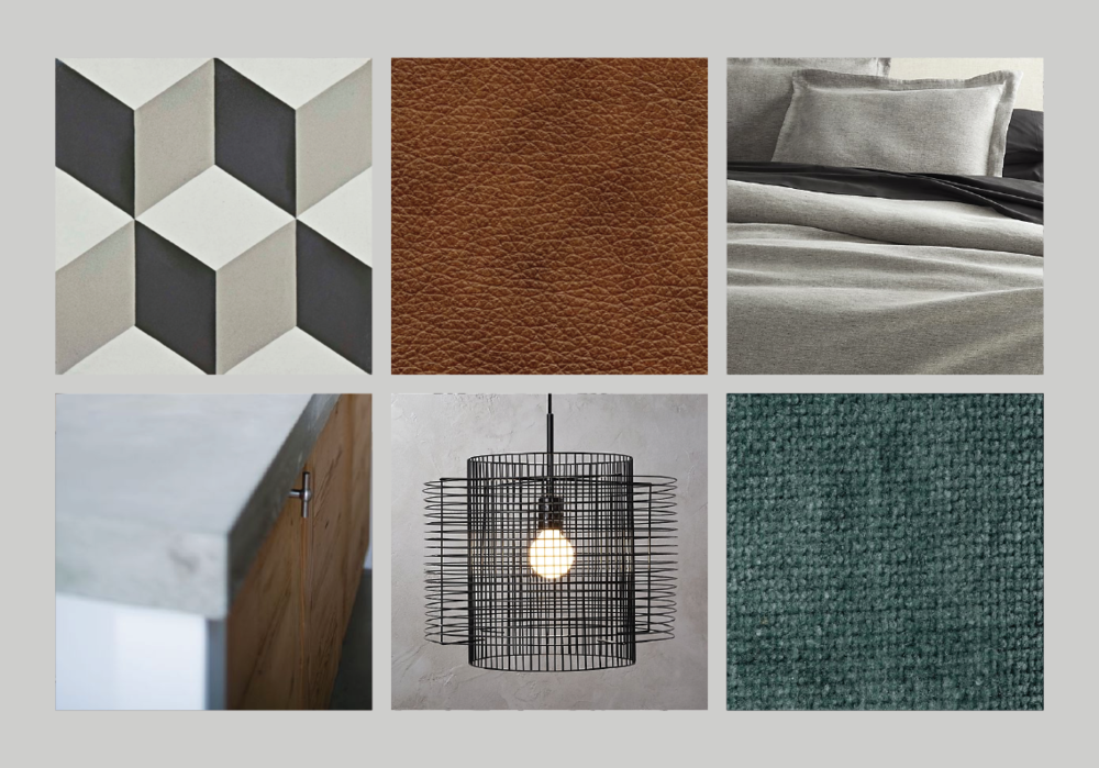 Look 10 — Neutral geometric flooring + concrete, white & wood cabinetry + cognac leather upholstery + gray linen bedding + black metal & teal velvet accents.