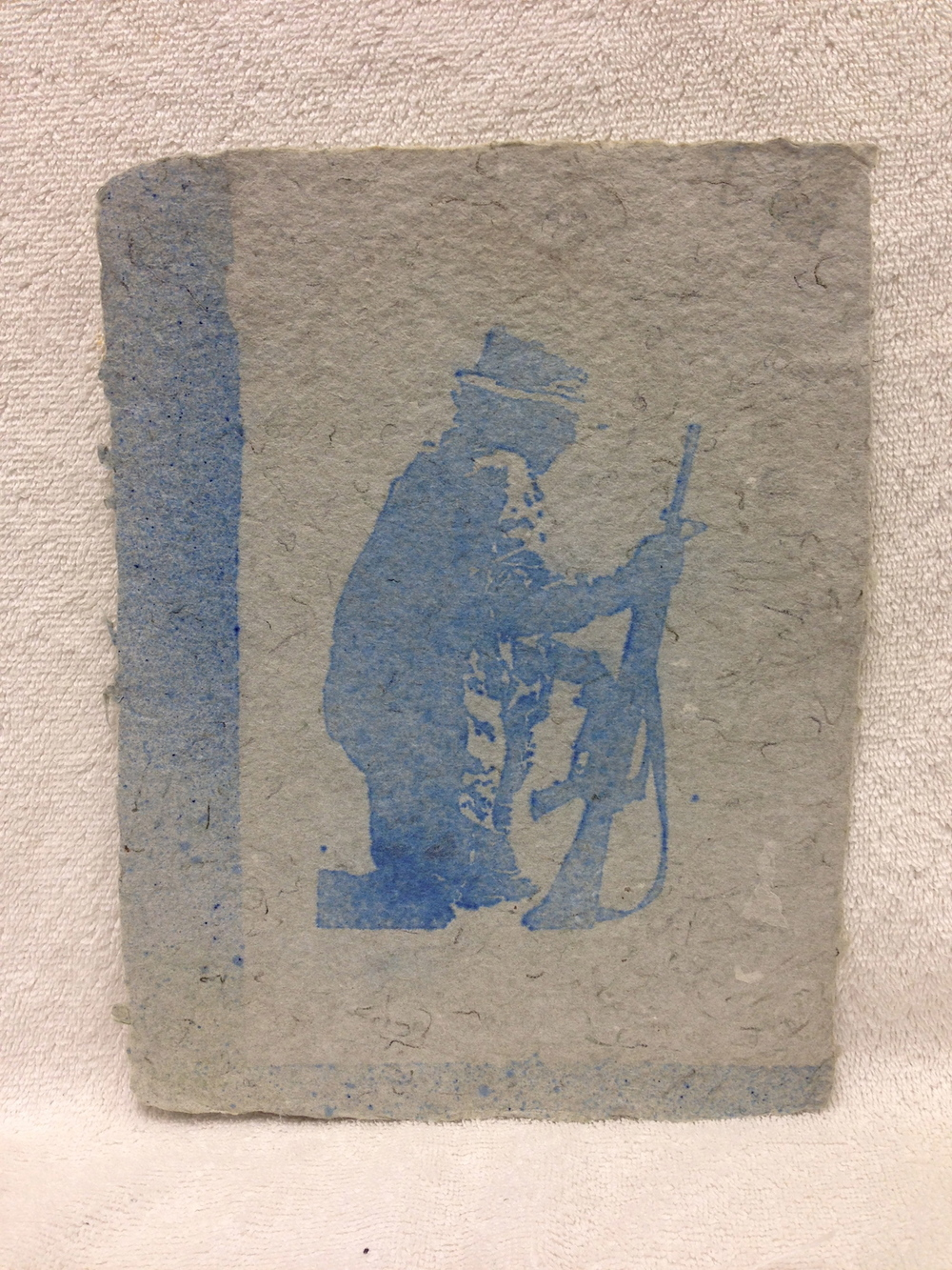 Anonymous _Untitled_ 2011 Pulp spray on handmade paper made from military uniforms PCNJ Weekly Workshop IMG_0970.jpg