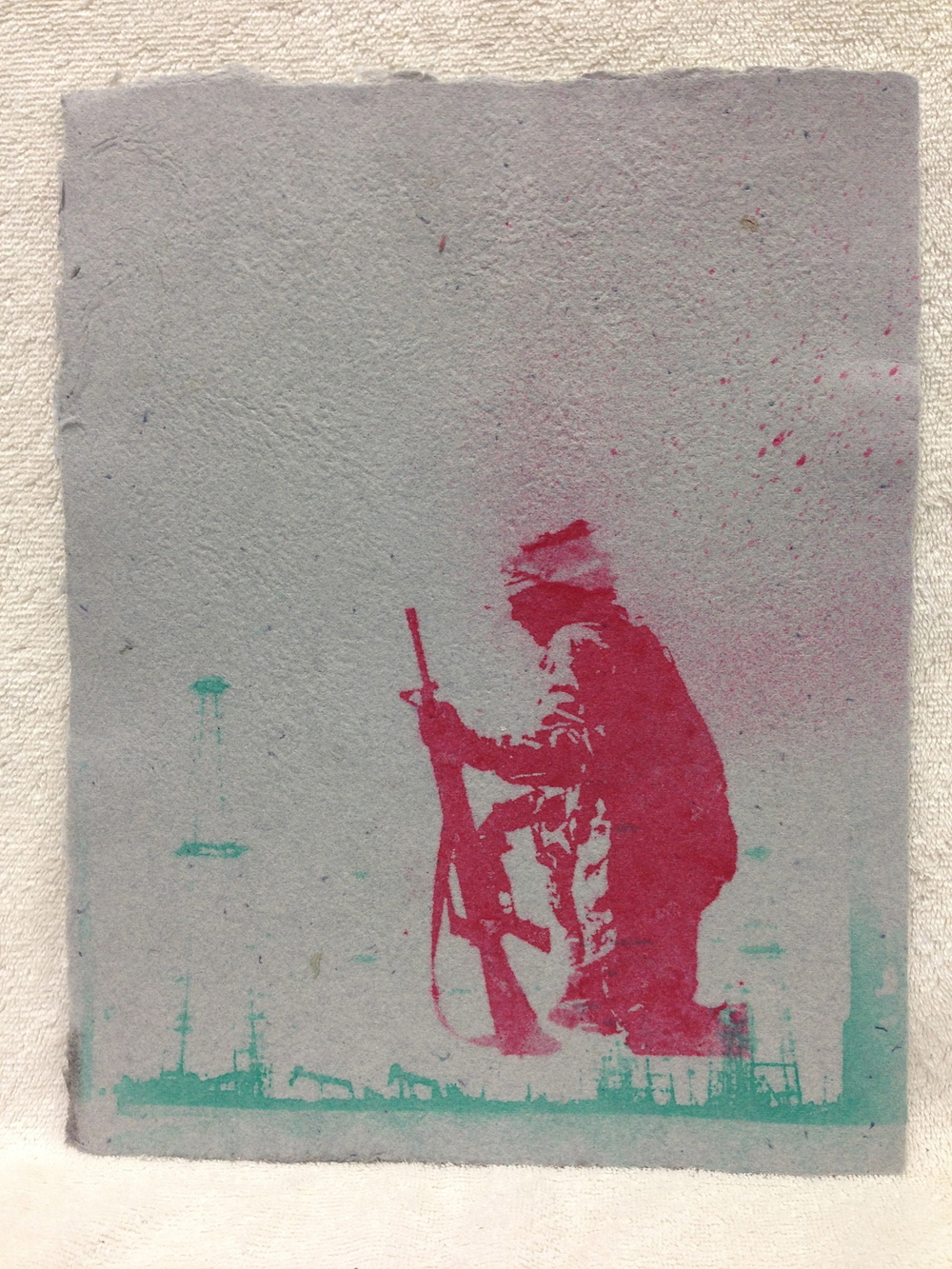 Anonymous _Untitled_ 2013 Pulp Spray on Handmade paper from military uniforms 11 x 14 IMG_0978.jpg
