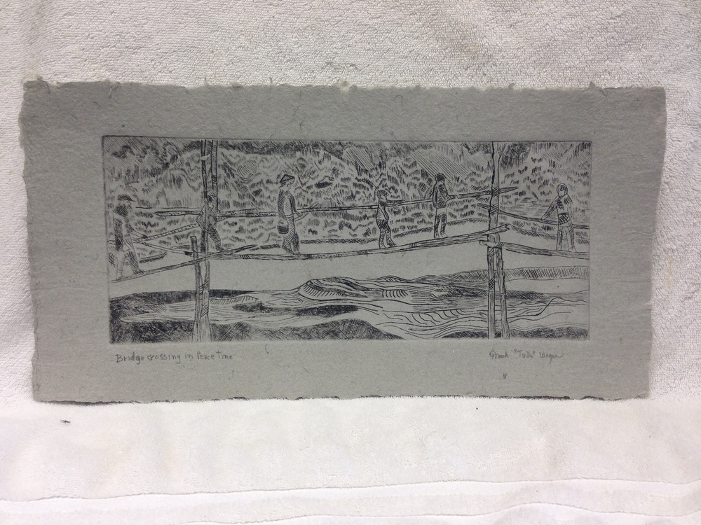 Frank Wagner Army - Vietnam _Bridge Crossing_ 2013 Drypoint on Handmade Paper from military uniforms 10 x 20 PCNJ Weekly Workshop IMG_0955JPG.jpg
