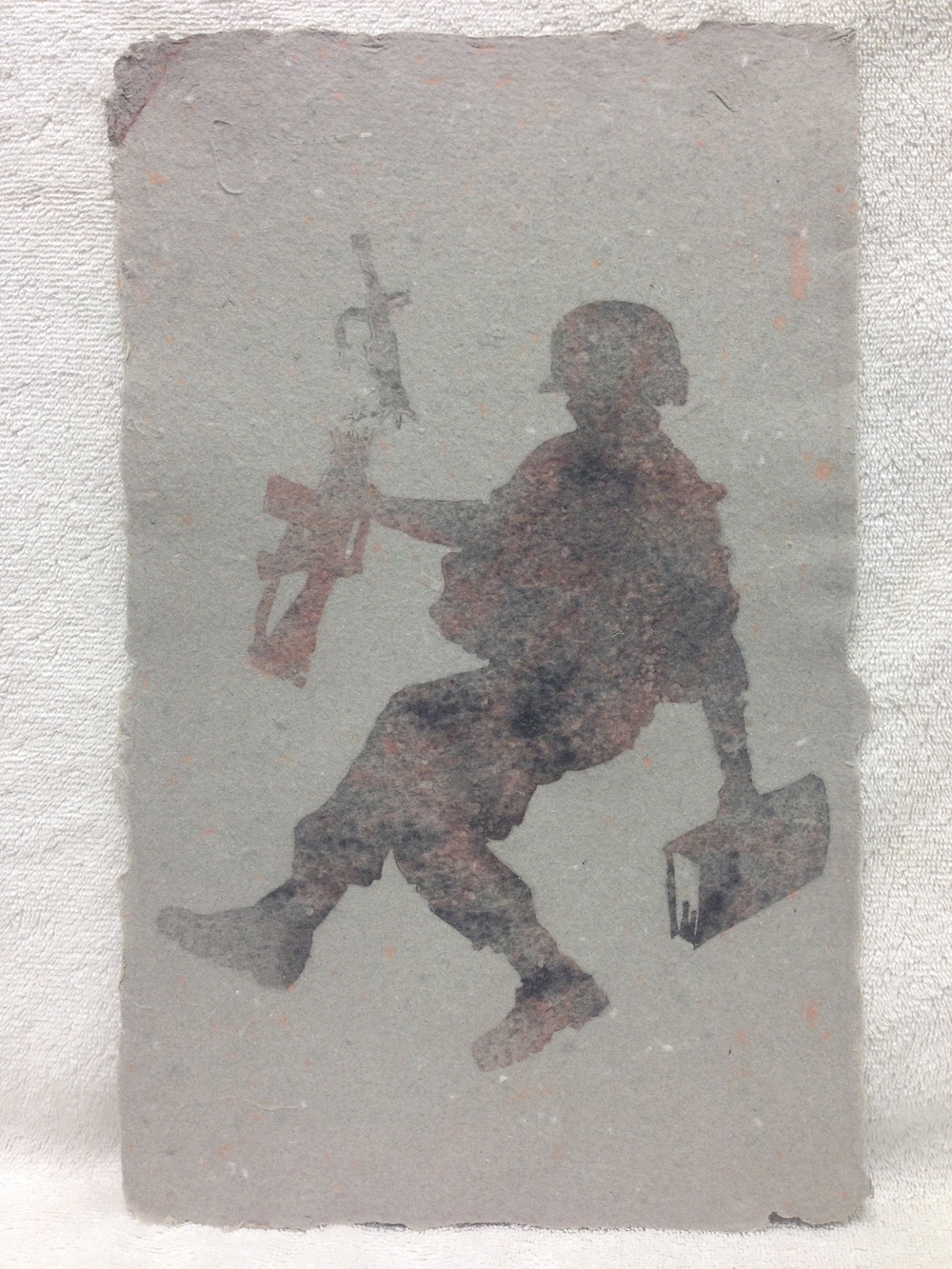 Jon Hausrath Army _Change of Heart_ 2010 Pulp spray on handmade paper made from military uniforms  IMG_0930.jpg