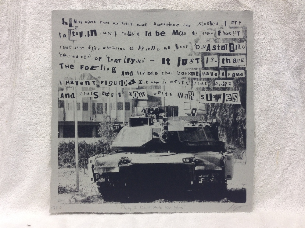 Justin Jacobs Army - Iraq _Why I Dont Write War Stories_ 2012 Silkscreen on Handmade Paper from military uniforms 16 x 16 Montclair State University Workshop IMG_0961JPG.jpg